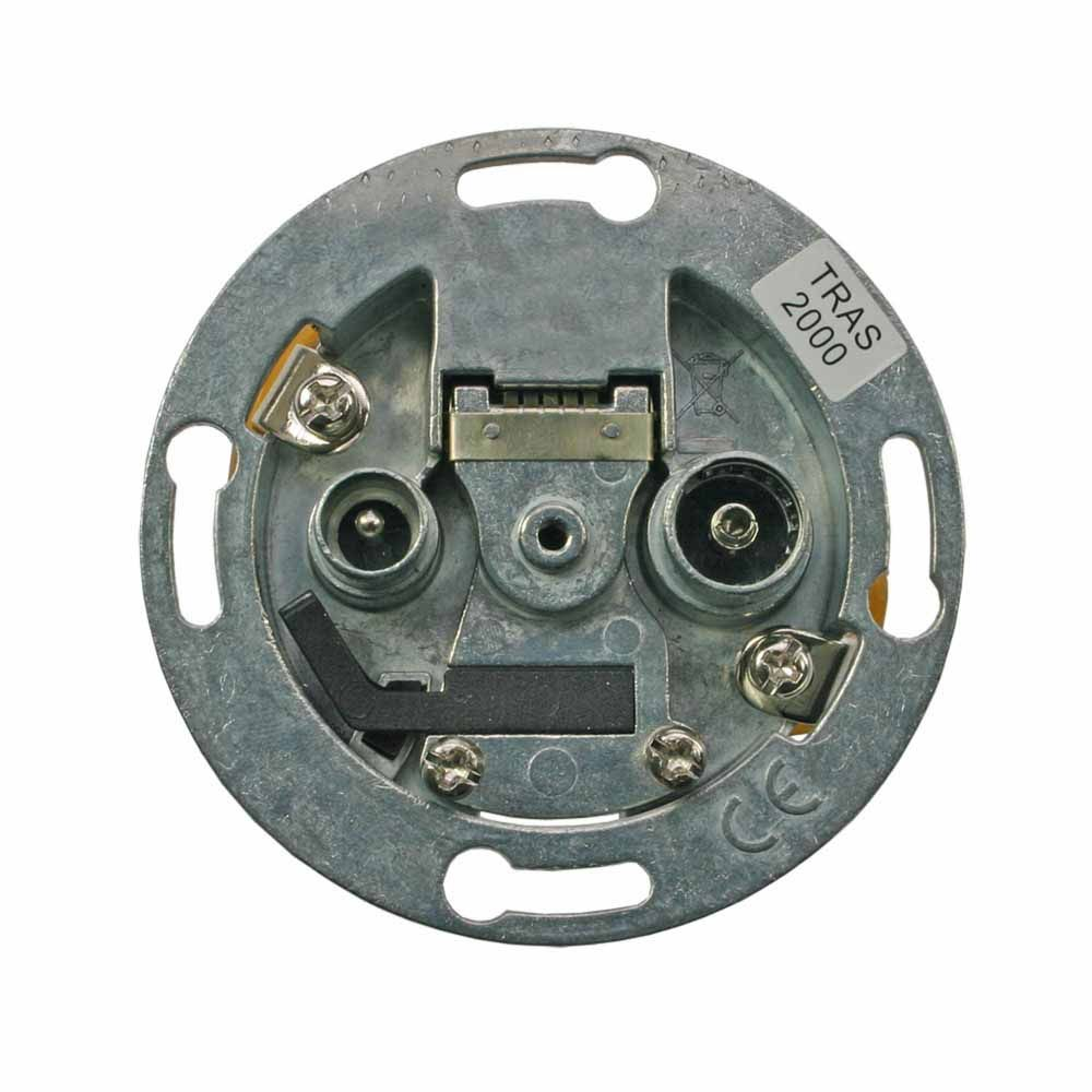 2-way 1 GHz TRAS-series wall outlet with cover plate and adapter ring