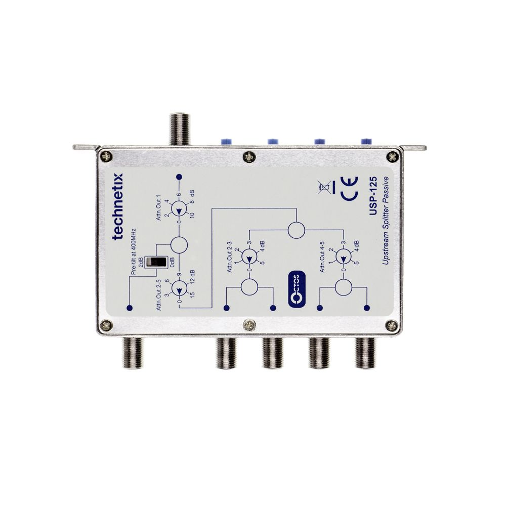 5-way 400 MHz headend upstream splitter with step attenuator