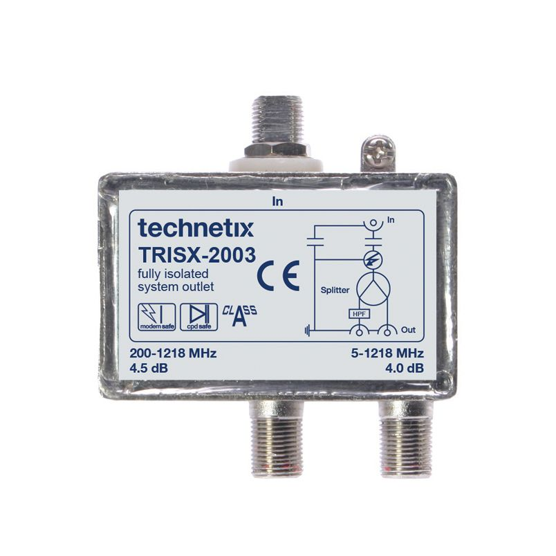 Dual-output 1.2 GHz TRIS-series Data/TV double galvanic isolator with grounding block