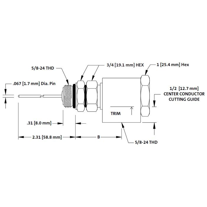 ADAPTER; RIGHT ANGLE CONN TO EQUIPMENT 90 DEGREES W/ LONG PIN WITH LONG PIN NON ROTATIONAL BODY