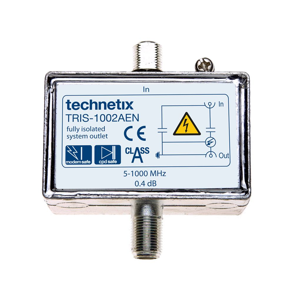 Single-output 1 GHz TRIS-series digital TV double galvanic isolator with grounding block