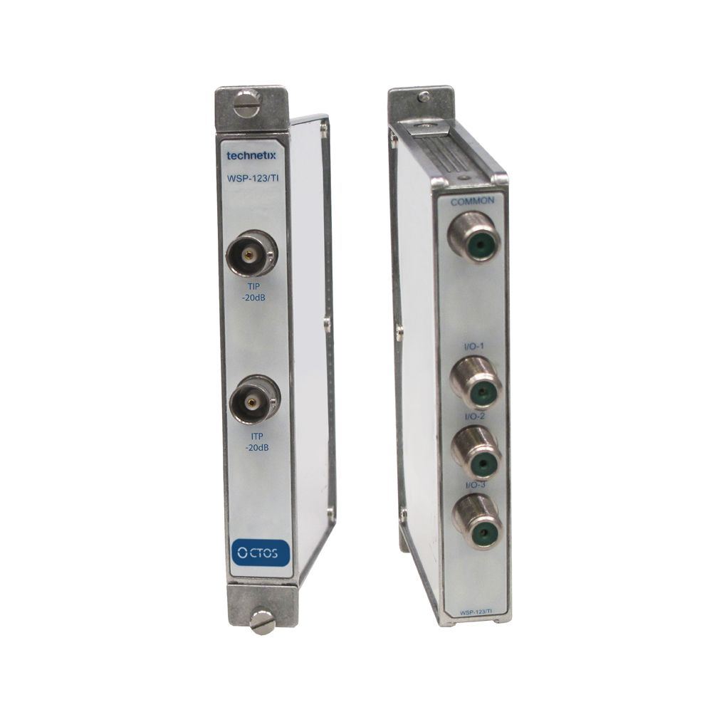 3-way 1 GHz Octos-series headend wideband splitter with test and insertion points