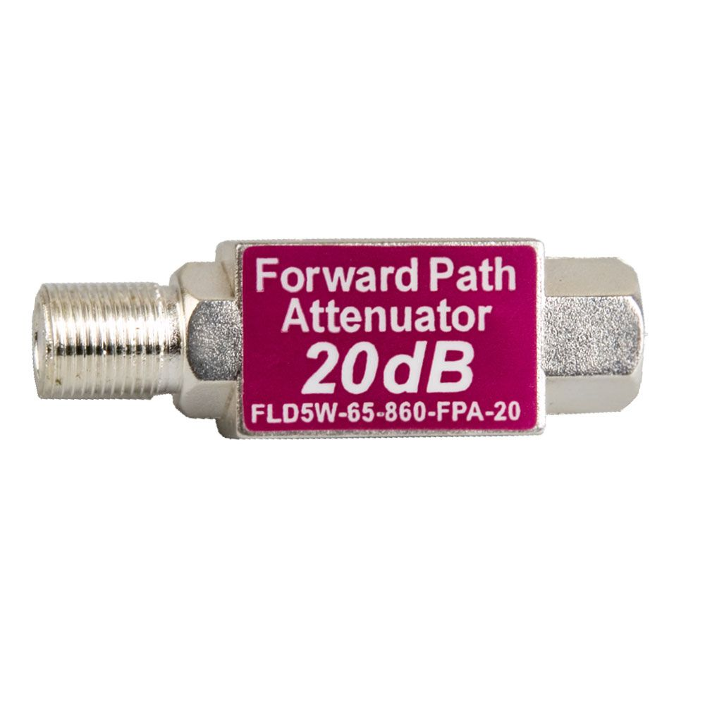 20 dB F-male to F-female inline forward path attenuator