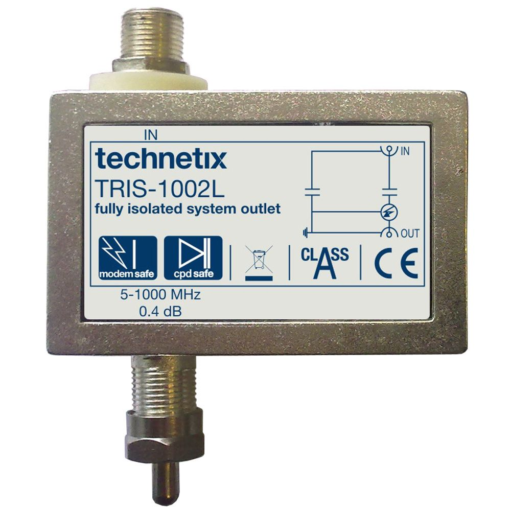 Single-output 1 GHz TRIS-series digital TV double galvanic low profile isolator