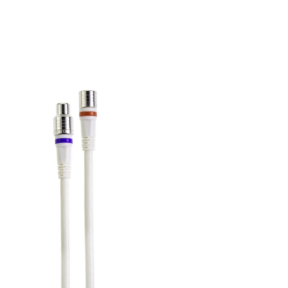 1.5-meter RLA++-series white IEC-male to F-male jumper cable