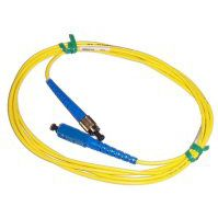 JUMPER; FIBER SCAPC TO SCUPC 2 METER (5 FT) LENGTH SIMPLEX SINGLEMODE RISER RATED 3MM YELLOW CORDAGE