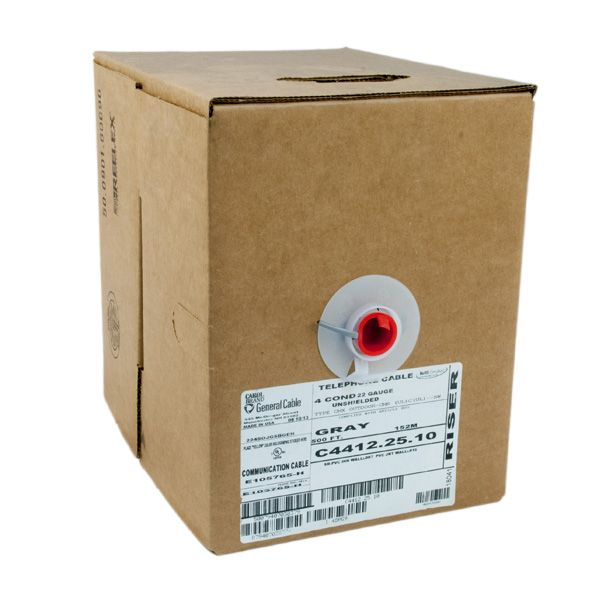 WIRE; STATION CMX-CMR 2PR 22AWG GRAY INDOOR / OUTDOOR CMR PVC JACKET 500FT BOX PULL-PAC - CLR CD R/G/Y/B