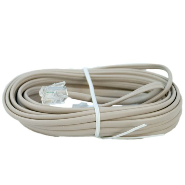 CORD; DATA LINE  FAX JUMPER 14FT 2C RJ11 SILVER SATIN STRAIGHT WIRED COLOR BEIGE